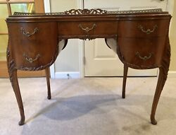 Antique Desk Queen Anne Kidney-shape Carvings And Brass