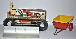 Sparkling Climbing Tractor Set 1950 Louis Marx 5 Tractor W/ Plow Wagon Mint