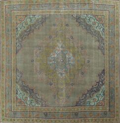 Antique Overdyed Traditional Area Rug Low Pile Oriental Handmade 10x10 Square