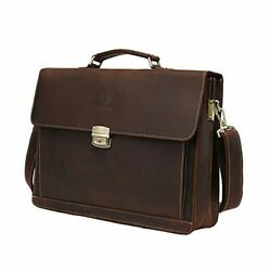 Leather Laptop Briefcase Shoulder Bag For Men Large Capacity Office Coffee