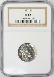 1937 Gem Proof Buffalo Nickel In Pf-67 Ngc With Incredibly Reflective Surfaces