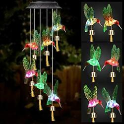 Winzwon Solar Hummingbird Wind Chimes Outdoor Home Mobile Hanging Bells Chime...