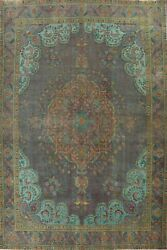 Antique Overdyed Traditional Oriental Evenly Low Pile Hand-knotted Area Rug 9x13
