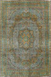 Antique Floral Traditional Oriental Overdyed Area Rug Wool Hand-knotted 10x12 Ft