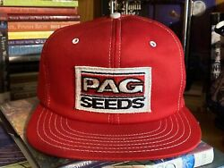 Vintage Usa Made Pag Seeds Mesh Snapback Trucker Patch Hat Cap Farm Agriculture