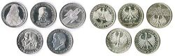 5 Mark Die First Five 195255 5764 Federal Republic Germany Complete Xf 1
