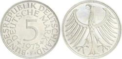 5 Dm J.387 Silver Currency Coin 1973 F Without Randschrift Edge Smooth For St,