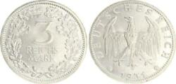 Weimar 3 Mark Currency Coin 1931 E Almost Bu