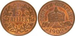 German East Africa 5 Heller 1909 J Lack Coinage With Zerbrochenem Stamp 54067