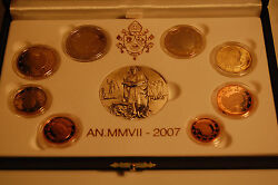 Official Course Set 2007 Vatican With Allen Coins 1 Cent To Pf