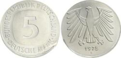 5 Dm Currency Coin 1975 F Lack Coinage On 2 Mark Without Randschrift, Mint State