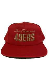 New Rare Vintage San Francisco 49ers Script Spell Out Snapback Hat Red Dome