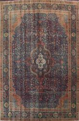 Antique Overdyed Floral Traditional Evenly Low Pile Wool Handmade Area Rug 10x13