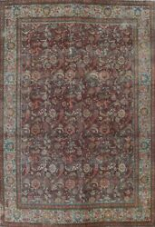 Antique Overdyed Floral Traditional Area Rug Evenly Low Pile Hand-knotted 10x13