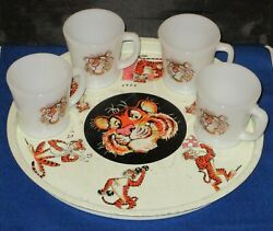 Vintage Esso Tiger Fire King Milk Glass Lot Of 4 Coffee Mugs And Metal Tray