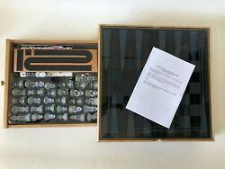 Classic Games Set With Glass Chess, Checkers Pieces And Wooden Storage Case