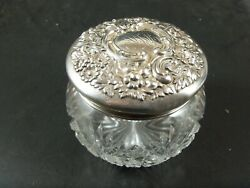 3 1/2 Dominick And Haff Sterling And Cut Crystal Dresser Powder Vanity Jar