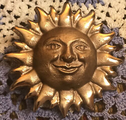 Michael Healy Happy Sun Face Brass Doorbell Ringer - In Box - 1999 Never Used
