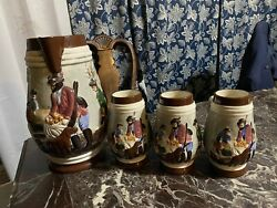 Over 12 In Vintage Acatlipa-mor Ceramic Beer-stein Pitcher And 6 Mugs.