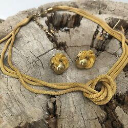 Vintage Gold Knot Chain Necklace Clip On Earrings Set Career Work Jewelry 70s