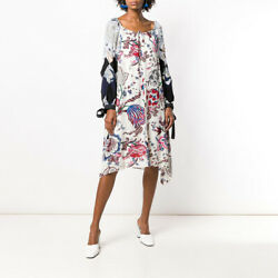 Multi Happy Times Silk Floral Print Long Sleeves Boat Neck Dress 619