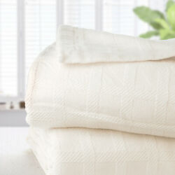 New Brahms Mount Wicker Wool And Cotton Blanket King White