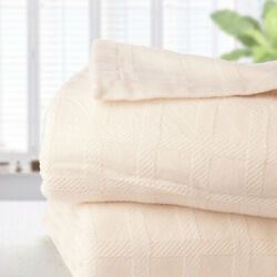 New Brahms Mount Wicker Wool And Cotton Blanket Queen Natural