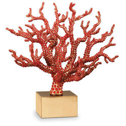 New Land039objet Coral Centerpiece W/ Semi Precious Red Cabochons