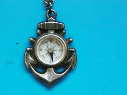 Wwii Original Japanese Small Naval Compass With 24 Chain
