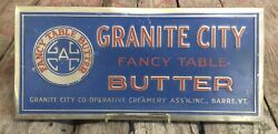 Vintage 30s Tin Over Cardboard Granite City Fancy Table Butter Advertising Sign
