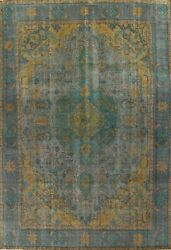 Antique Geometric Overdyed Traditional Area Rug Hand-knotted Wool 10x13 Carpet