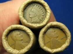 @shotgun Roll Full Of Indian Head Cents And Teen Wheat Pennies -old Lot 1858-1919@