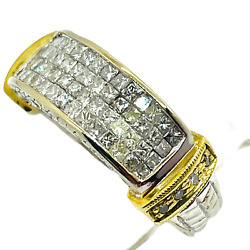 14k Solid Two Tone Gold 2.0 Carats Natural Diamond Pave Band Ring Size 6