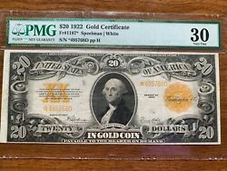 1922 20 Gold Certificate Pmg 30 Rare Population 15,in Vf,9 Better Star Note
