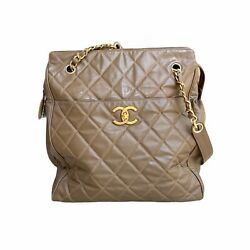 Authentic Chanel Vintage Quilted CC Logo Brown Large Tote Bag $747.00