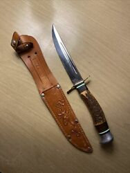 Hubertus Solingen Fixed Blade Knife W/ Bone And Metal Handle And Leather Sheath