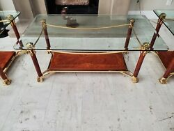 Italian Glass And Walnut Wood Coffee Table With Two Matching Side Tables