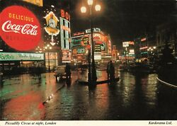 Coca-cola Max Factor Piccadilly Circus Night View Continental Postcard 2t7-12