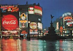 Piccadilly Circus Night View Skol Coca-cola Sign Continental Postcard 2t7-5
