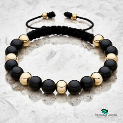 Bracelet With Lamianted Gold 8mm Pellets And Double Gemstones For Men And Women