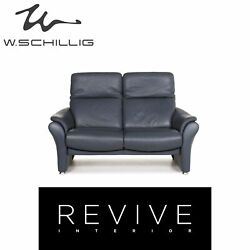 Willi Schillig Ergoline Leather Sofa Blue Two Seater Function Relaxfunktion