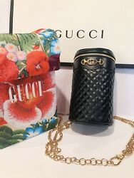 NEW Authentic GUCCI Black Quilted Leather Belt Crossbody Shoulder 3 Way Bag $1000.00