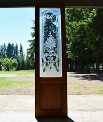 85 Tall Antique French Etched Glass Pine Door Frosted Glass With Flowers