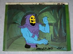 Skeletor - Original Animation Cell And Painted Background + Coa