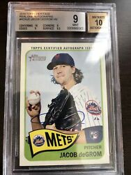 2014 Topps Heritage Real One Auto Jacob Degrom Rookie Bgs Mint 9, Cent And Auto 10