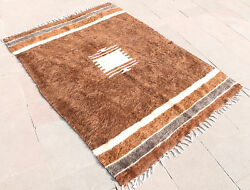 Turkish Rug 49''x70 Hand Woven Siirt Mohair Rug 126x178cm No Dyes
