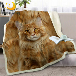 3D Cat Throw Blanket on Bed Sofa Siamese Sherpa Blanket Pet Brown Plush Quilt