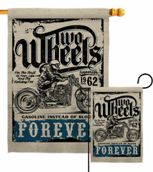 Two Wheels Garden Flag Vehicle Interests Decorative Small Gift Yard House Banner