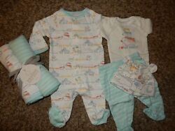 Nwt 0-3m The Childrenand039s Place 6pc Farm Layette Outfits Sleeper Blankets Set