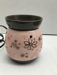 Scentsy Warmer Full Size Retired Doodlebud Pink Brown Floral Plug In